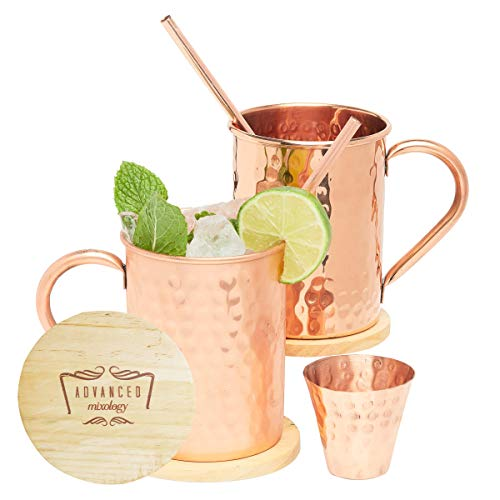 Advanced Mixology Moscow Mule Copper Mugs - Set of 2 - 100% HANDCRAFTED - Pure Solid Copper Mugs 16 oz Gift Set with BONUS: Artisan Wooden Coasters, Cocktail Copper Straws, and Shot Glass!