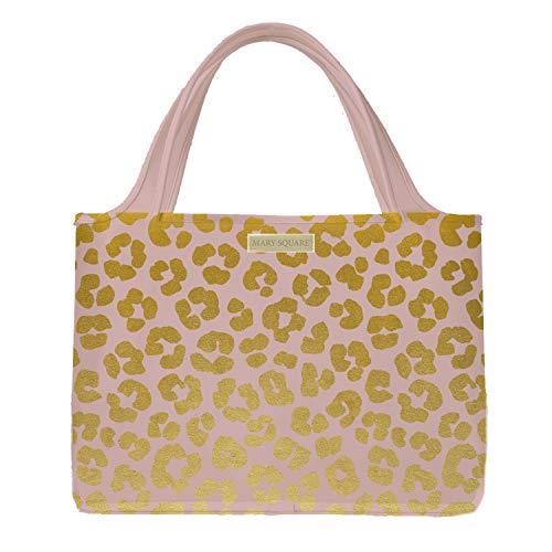 Mary Square Foldable Organizer Bag, Blush Leopard