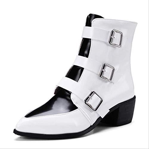 SHZSMHD Lente Vintage Meerdere Riem Gesp Laarzen Vrouwelijke Merk Super Hoge Hakken Enkel Aangewezen Dames Schoenen Laarzen Vrouwen