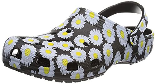 Crocs Zuecos de Madera Unisex Classic Graphic, Black Daisy, 42/43 EU