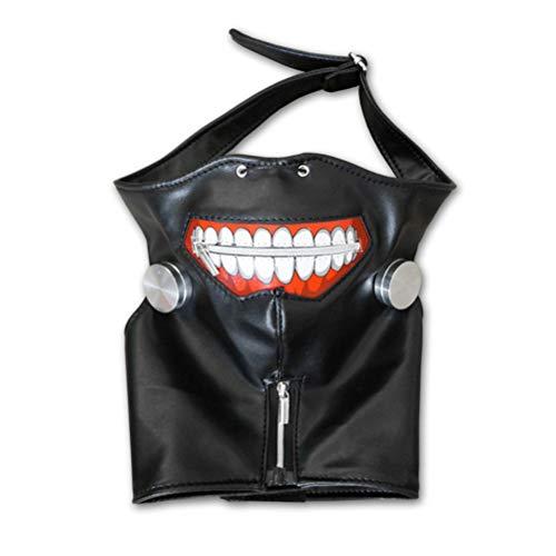 COSPLAZA Tokyo Ghoul Kaneki Ken Black Leather Zipper Cosplay Maske Silver White Wig Perücken