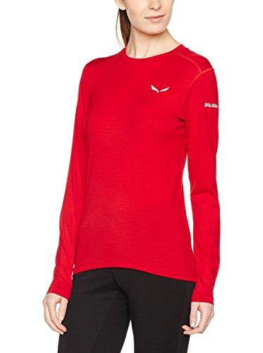 Salewa Sesvenna Wo W L/S Tee - T-Shirt à Manches Longues pour Femme, Couleur Rouge, Taille 48/42