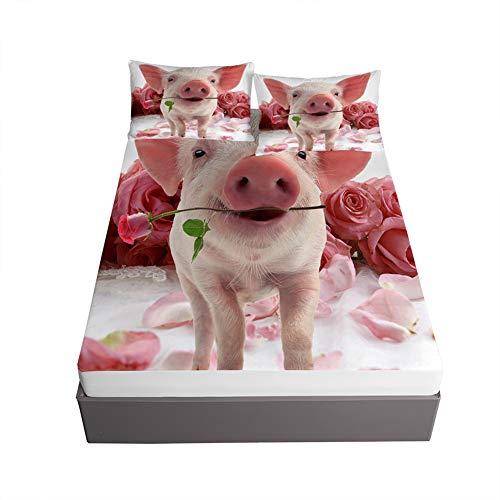 Oduo Sabana Bajera y Funda Almohada, 3D Cerdo Impresión Sábana Bajera Ajustable Profundo 30cm con 2 Fundas de Almohada para Cama Individual o Matrimonial (Flor Rosa Rosa,160x200x30cm)