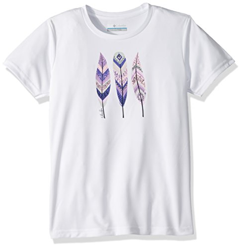 Columbia Kurzärmliges T-Shirt für Mädchen, Trailtastic Short Sleeve Shirt, Polyester, weiß mit Federgrafik (White Feather Graphic), Gr. XL, AG0011