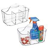 mDesign Juego de 2 cestas organizadoras con asa para productos de limpieza –...