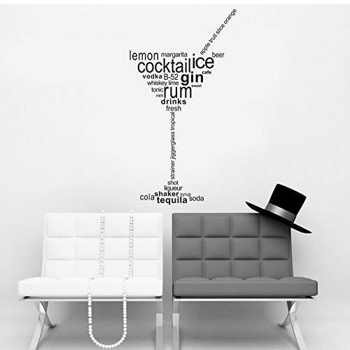 Cocktail Ice Gin Rum Getränke Abnehmbare Art Vinyl Wandhaupt Room Decor Wandaufkleber 31 * 57 cm