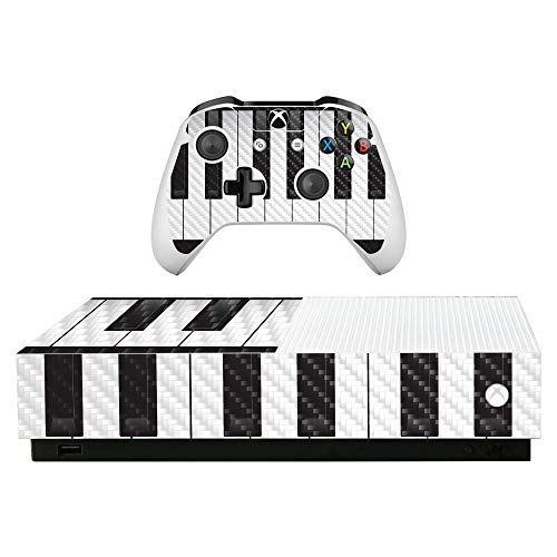 MightySkins Carbon Fiber Skin for Microsoft Xbox One S All-Digital Edition - Piano Keys | Protective, Durable Textured Carbon Fiber Finish | Easy to Apply, Remove, and Change Styles | Made in The USA