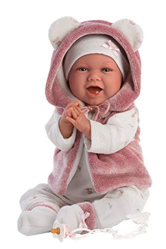 Puppe Mimi, mit blauen Augen und weichem Körper, Babypuppe inkl. rosa Outfit, Schnuller, Schnullerkette und weicher Decke mit süßen Öhrchen, 42cm