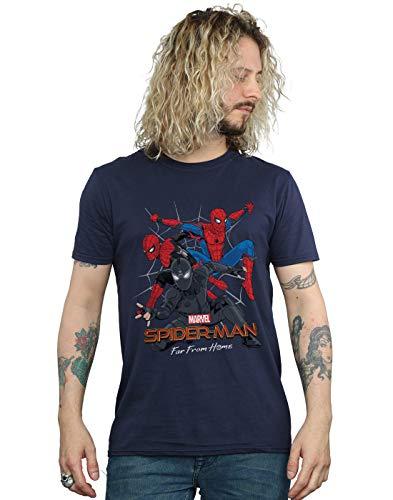 Marvel Hombre Spider-Man Far from Home Multi Costume Camiseta Azul Marino Small