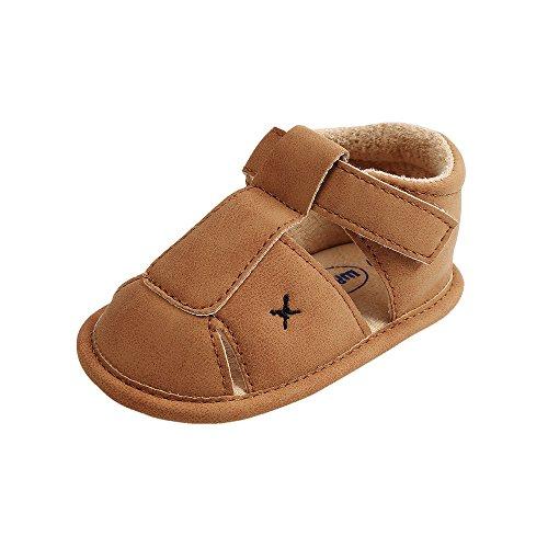 Baby Jungen Weiche Sohle Sandalen Kleinkind Anti-Rutsch Sommer Krippe Schuhe,Khaki,0-6 Monate