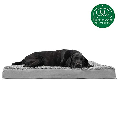 Furhaven Pet Dog Bed   Deluxe Orthopedic Mat Ultra Plush Faux Fur Traditional Foam Mattress Pet Bed w/ Removable Cover for Dogs & Cats, Gray, Jumbo