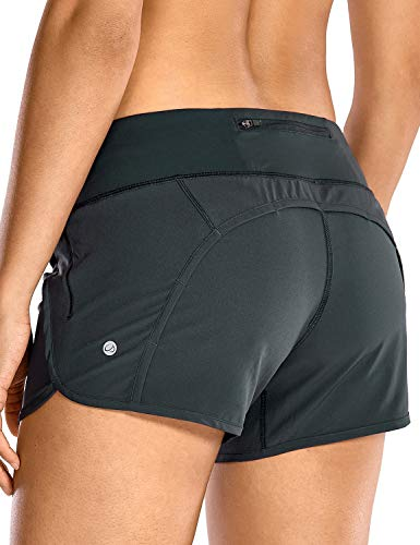 CRZ YOGA Women's Quick-Dry Athletic Sports Running Workout Shorts with Zip Pocket - 4 Inches Melanite 4''-R403 Small