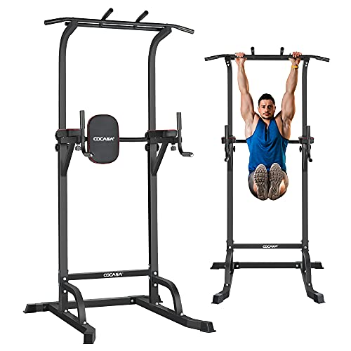 CDCASA Power Tower Dip Station Pull Up Bar Stand Adjustable Dip Stands for Home Gym Strength Training Workout Equipment Multi-Function Fitness Exercise 10 Levels Adjust Height