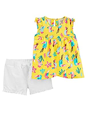 Carter's Baby Girls 2-Pc. Cotton Toucan-Print Top & Shorts Set Yellow Multi (6 Months)