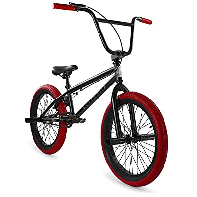 """Elite 20"""" & 16"""" BMX Bicycle The Stealth Freestyle Bike (20"""" Black Red)"""
