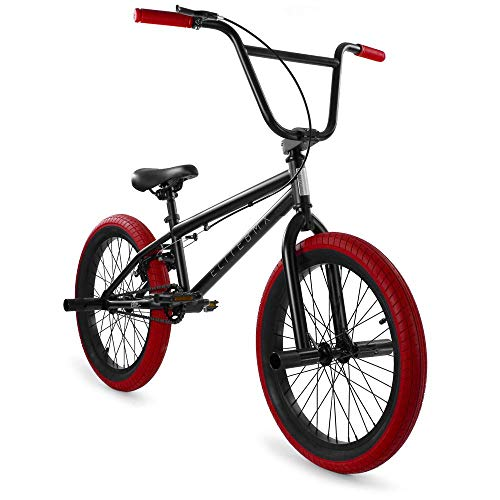 """Elite BMX Bicycle 20"""" & 16' Freestyle Bike - Stealth and Peewee Model (Stealth Black Red, 20')"""