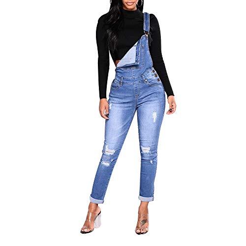 Elegant Damen Latzhose Lang Denim Sommer Overall Jeanshosen Sexy Skinny Blau Jumpsuit Slim Fit Stretch Playsuit Arbeitshose, Morbuy Casual Retro Mode Einfarbig mit Taschen Hose (3XL,Hellblau)