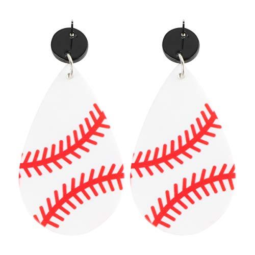 Happyyami Baseball Leder Ohrringe Kunstleder Teardrop Drop Baumeln Ohrringe Geometrische Haken Ohrringe Ohrschmuck für Sportliebhaber Mädchen Frauen (Weiß Rot)