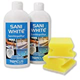 SANI WHITE SET-01 (7013) -- 2x 500 ml SANI WHITE Sanitärpolitur + 2x Haushaltsschwamm - Sanitärreiniger Badreiniger Sanitär Toilettenreiniger Politur Waschbeckenreiniger Badewannenreiniger - ABACUS