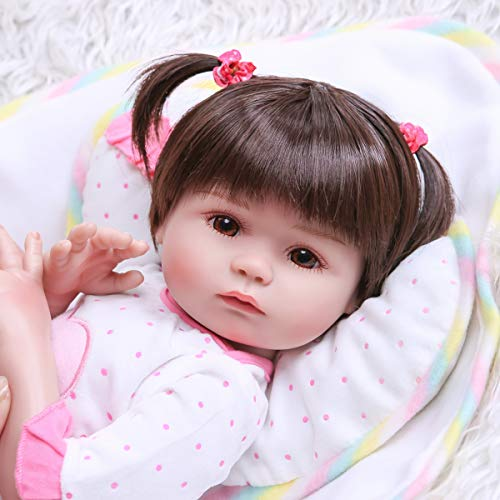 Zero Pam Realistische Anatomisch Correcte Herboren Baby Poppen siliconen full body 18inch 45cm Levensechte Meisje Pop met kleding Bruine ogen