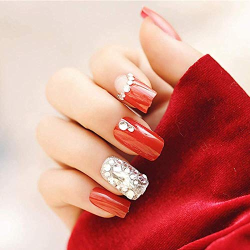 CSCH Faux ongles Coffin False Nails Red Glossy Fake Nails Wedding Bride Full Cover Stick on Nails for Women and Girls