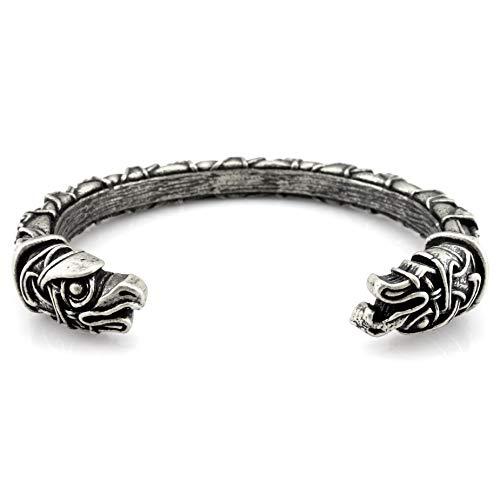 URBANTIMBER Wikinger Armreif Hugin & Munin mit keltischen Knoten 2 Silber