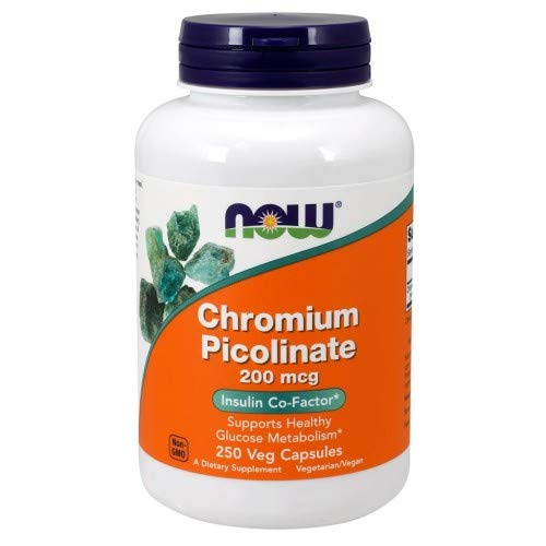 Now Foods Chromium Picolinate Capsules, 200 mcg, Standard, 250-Count