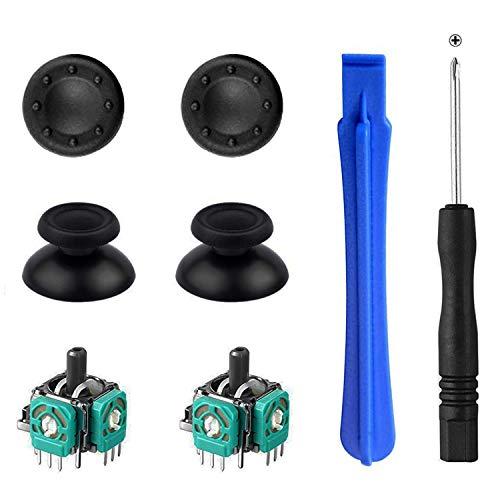 Greluma 2 Stk 3D-Joystick-Wippschalter + 2 Stk Daumenstiel-Ersatzteile + 2 Stk Daumenkappen + Schraubendreher + Stemmwerkzeug für P-S-4 / P-S4 Slim / P-S4 Pro-Controller