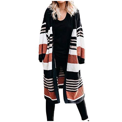 PUAMAC Damen Strick Cardigan Sweater Damen V-Ausschnitt Winter Striped Color Block Langarm Vorne Offen LäSsig Warm Locker Oberbekleidung Mantel Mit Taschen