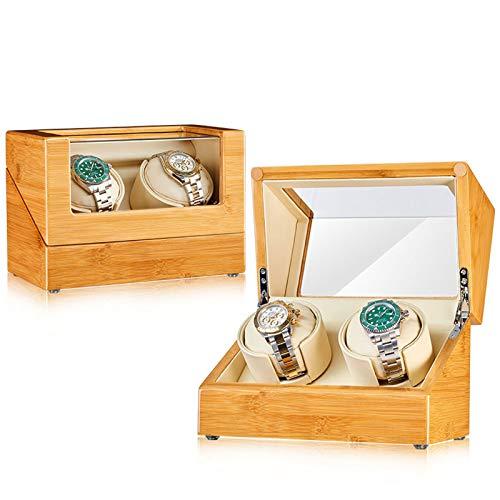 Uhrenbeweger Bambus Holztisch Shaker Mechanische Uhr Automatische Wickelkasten Rotary Meter Shaker Watch Aufbewahrungsbox Einzelne Uhr Wipper Geschenk Geschenk Wesentlich(Size:2 epitope)