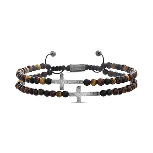 Steve Madden Cross Station Double Strand Brown Tigers Eye Beaded Adjustable Bracelet For Men ( Brown )