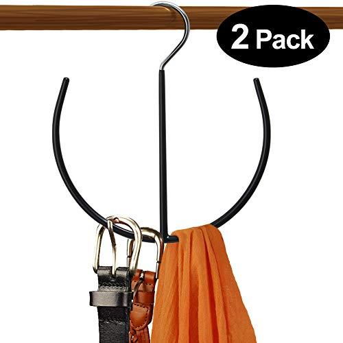DOIOWN Belt Hangers Tie,Scarf,Shoes Non Slip Organizer Hangers Hook Rack (2 Pack-Black)