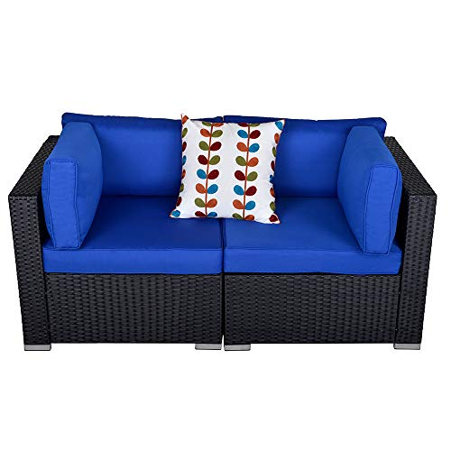 Patio Furniture Corner Sofa Outdoor Loveseat, 2 Piece Wicker Rattan Outdoor Sectional Sofa Set with Removable Royal Blue Cushions,Extra Chair for SUNVIVI OUTDOOR Furniture (Black)