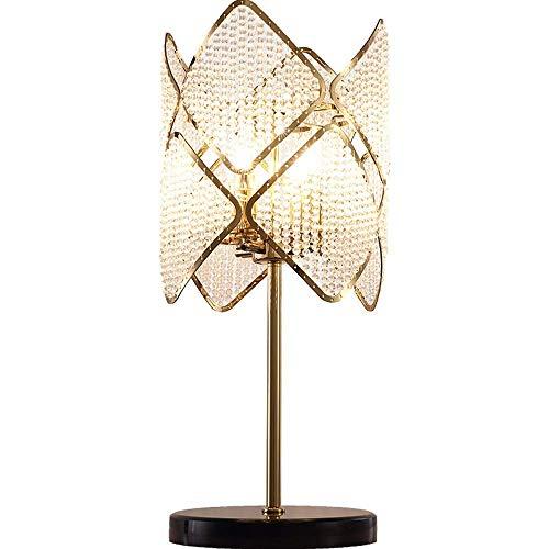 Living Equipment Lámpara de mesa, Lámpara de mesa de estudio de dormitorio con cuentas de cristal, Atmósfera de lujo Lámpara de mesa de cristal de sala de estar de moda, Lámpara de mesa dorada (30