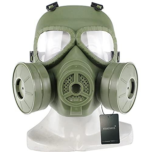 WISEONUS Paintball Masken CS Spielemaske Jagd Gesichtsschutz Taktische Masken Transparenten Gläsern mit Attrappe Doppel Turbo Lüfter