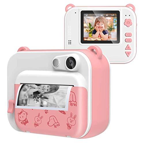 Mini-Sofortdruckkamera,Tintenfreie Filmfreie Tragbare Kamera, 2-Zoll-1080P-HD-Multifilter-Schwarzweiß-Foto-Digitalkamera mit 3 Rollen Druckpapier, Einwegkamera für Kinder Mädchen Junge