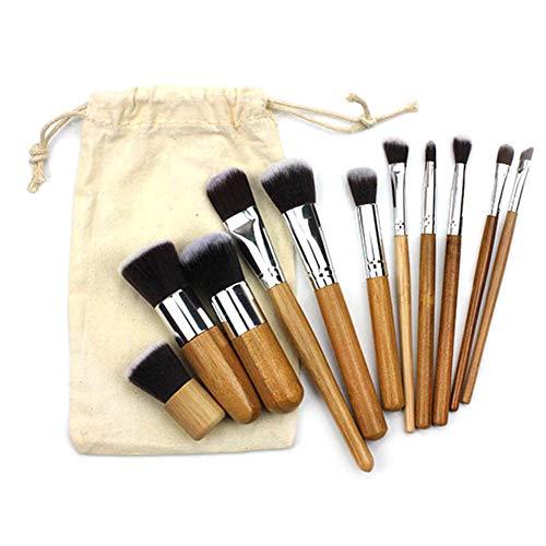Brosse Maquillage Poignée En Bambou Mis 11Pcs Avec Les Cheveux En Nylon Domestique Sac De Rangement En Toile De Jute Outil De Maquillage Des Yeux Du Visage