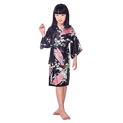 CuteOn Girls Kimono Satin Peacock Bathrobes Sleepwear for Kids Wedding Dress