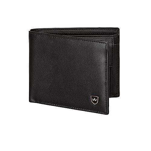Kronenschein® Premium Geldbörse Herren groß Nappa Leder Portemonnaie Geldbeutel Männer Brieftasche RFID Wallet Portmonee Herrengeldbeutel Portmonaise Geldtasche