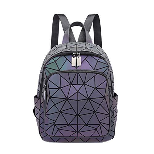 Luminous Zipper Backpack School Bag Laptop Bag Geometric Diamond Backpack Unisex Travel Bag(Size:26 * 12 * 32cm,Color:Irregular)