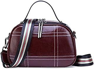 CSG New Fashion Simple And Versatile Compact Bills Shoulder Slung Leather Handbags durable (Color : Red) waterproof