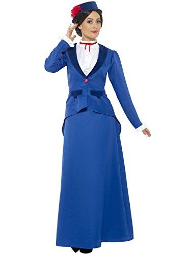 Smiffys Costume victorien nounou, bleu, avec jacket avec Mock Shirt, jupe et chapeau