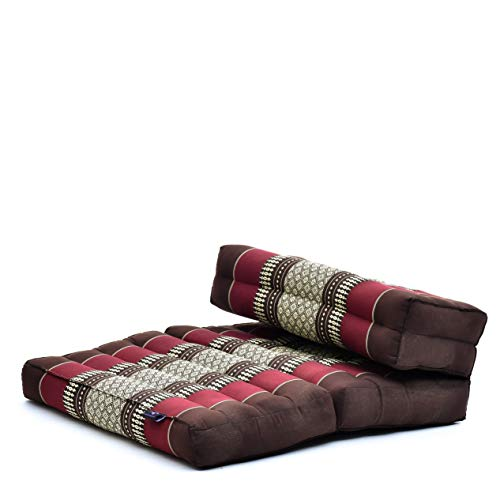 Leewadee Asiento de meditación – Almohadilla Plegable para Hacer Yoga, cojín para el Suelo de kapok ecológico Hecho a Mano, 54 x 72 cm, marrón Rojo