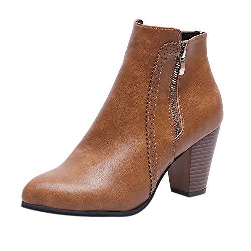 Logobeing Botines Mujer Tacon Invierno Planos Tacon Ancho Piel Botas de Mujer Medio Zapatos Combat Casual Planas Zapatos de Plataforma-5850(39,Marrón)