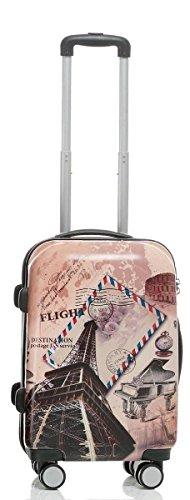 Reise Koffer Trolley mit Polycarbonat ABS Hartschale und Motiv BB (2: 45 Liter - Gr. M, Eiffelturm)