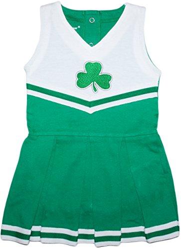 Irish Baby Shamrock Cheer Bodysuit Dress