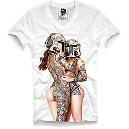 E1SYNDICATE V-Neck T-Shirt Stormtrooper Twin Lesbian Tattoo Girls PIN UP Medium White