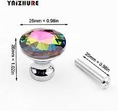 Bureze Make-up Box Grid Boor 25mm Kristal Diamant Glas Zilver Lade Kast Knoppen Kledingkast Kast Meubilair Handvat