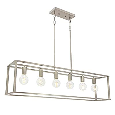 BONLICHT Modern Chandeliers 6 Lights Brushed Nickel Linear Pendant Lighting Industrial Kitchen Light Fixture Hanging Ceiling Light for Farmhouse Island Dining Room Living Room
