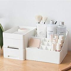 SOEVAKIA 化粧品収納ボックス コスメボックス 小物入れ 卓上収納 安定 シンプル 櫛置き場 コスメ収納 大きな置き場 まとめ収納 メイクボックス レディース ギフト (オフホワイト2)